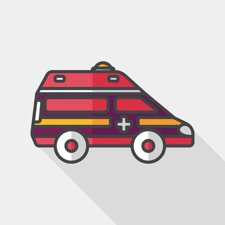 emt: Transportation ambulance flat icon with long shadow, Illustration