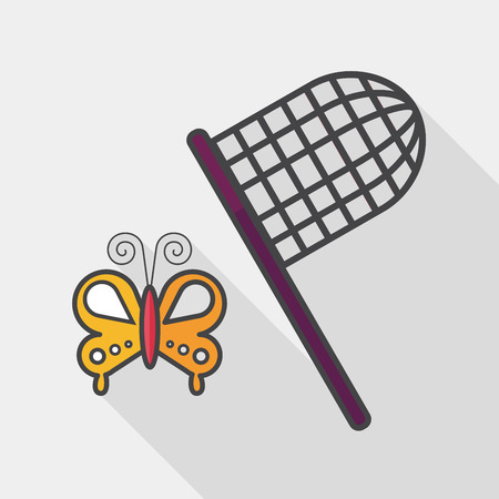 entomologist: butterfly net flat icon with long shadow, Illustration