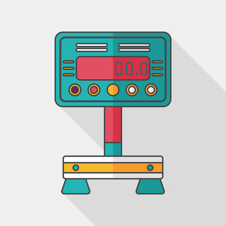 scale icon: Weight scale flat icon with long shadow Illustration