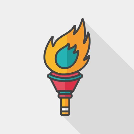 flaming: flaming torch flat icon with long shadow,