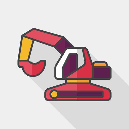 power shovel: Transportation excavator flat icon with long shadow,