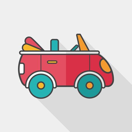 open car: Transportation open car flat icon with long shadow, Illustration