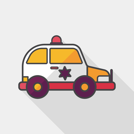 politieauto: Transportation police car flat icon with long shadow,