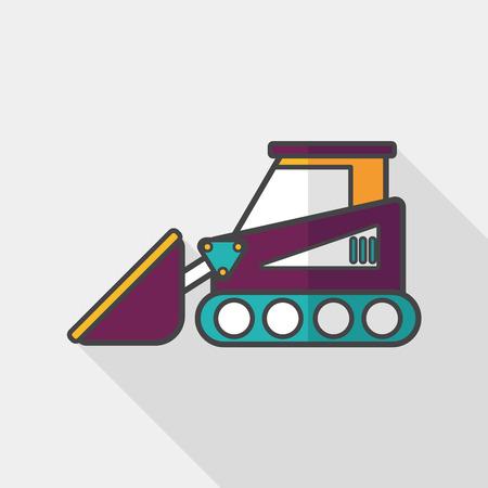 wheeled tractor: Transportation bulldozer flat icon with long shadow, Illustration