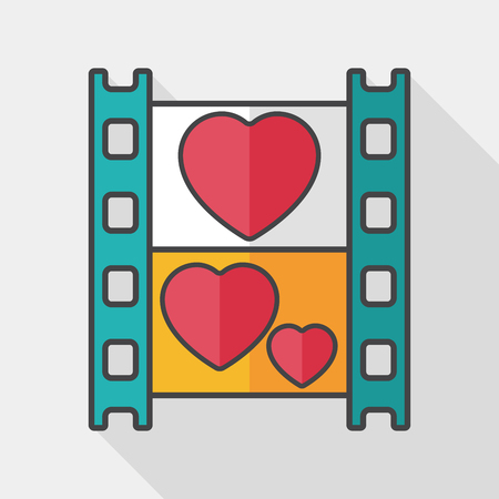wedding film flat icon with long shadow, Illustration