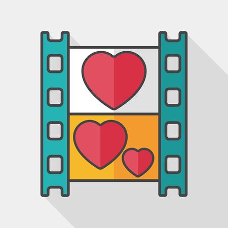 wedding film flat icon with long shadow, 向量圖像