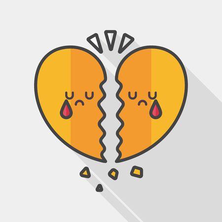 corazon roto: D�a roto icono plana coraz�n de San Valent�n con una larga sombra