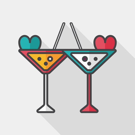 champagne toast: wedding champagne flat icon with long shadow,eps10