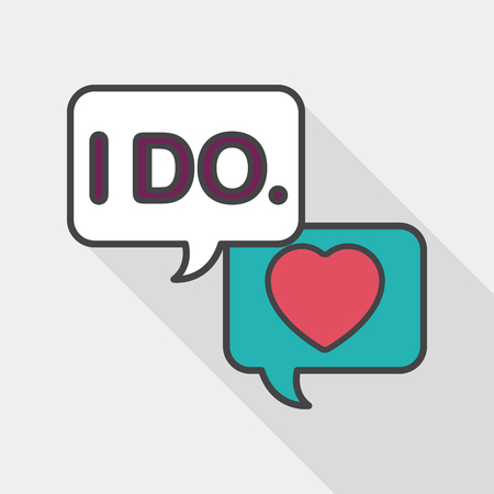 vow: wedding yes i do words flat icon with long shadow, Illustration