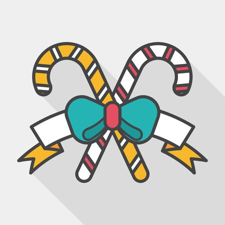 candycane: Christmas candy cane flat icon with long shadow,