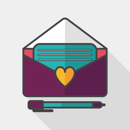 handwrite: Valentines day love letter flat icon with long shadow, Illustration
