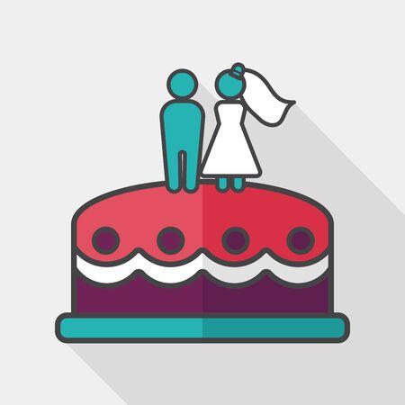 cake decorating: pastel de bodas icono plana con larga sombra, Vectores