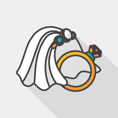 bride veil: bride veil and diamond ring flat icon with long shadow, Illustration