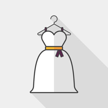 bride dress: wedding dress flat icon with long shadow,