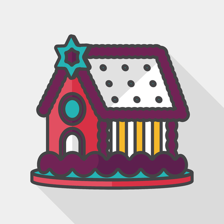 gingerbread house: Gingerbread house flat icon with long shadow, Illustration