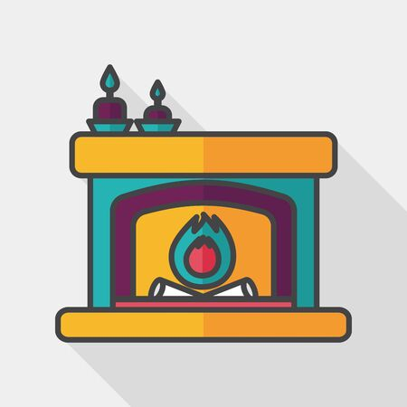 hearthside: Christmas fireplace flat icon with long shadow,