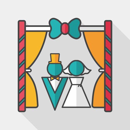be married: wedding ceremony flat icon with long shadow,