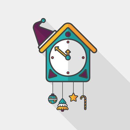 reloj cucu: Icono plana reloj de cuco con larga sombra