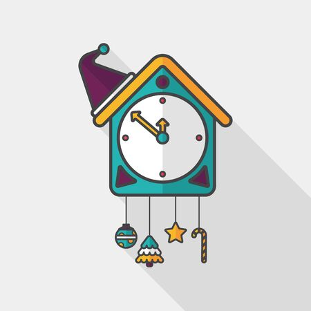 Cuckoo clock flat icon with long shadow Illustration