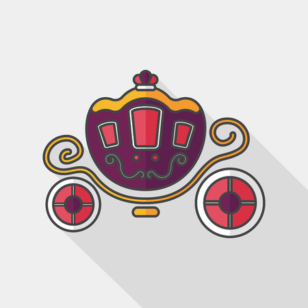 enchanting: wedding carriage flat icon with long shadow