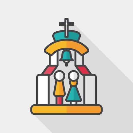 wedding tent: wedding ceremony in chruch flat icon with long shadow, Illustration