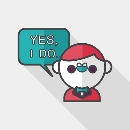 vow: wedding yes i do words from groom flat icon with long shadow, Illustration