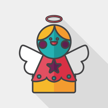 heavenly light: angel flat icon with long shadow,