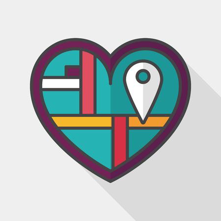 destination wedding: heart shaped wedding invitation flat icon with long shadow, wedding ceremony destination on invitation