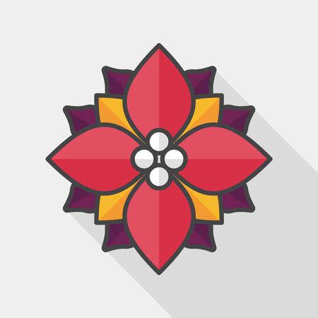 circle design: poinsettia flat icon with long shadow, eps10 Illustration