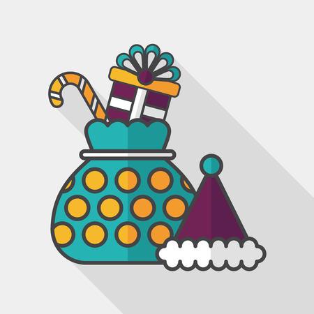 gift basket: Christmas gift flat icon with long shadow, eps10