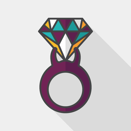 propose: Propose diamond ring flat icon with long shadow,