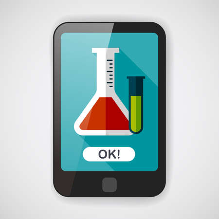 toxic substance: test tube flat icon with long shadow