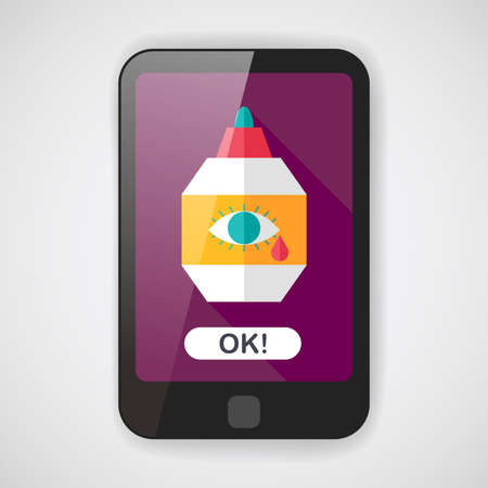 therapeutic: Eye Drop flat icon with long shadow Illustration
