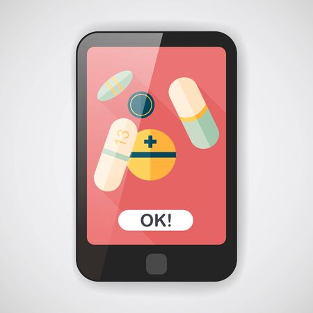 painkiller: Pills flat icon with long shadow