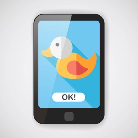duck toy: Duck toy flat icon with long shadow