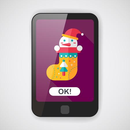 christmas stocking: Christmas stocking flat icon with long shadow  Illustration
