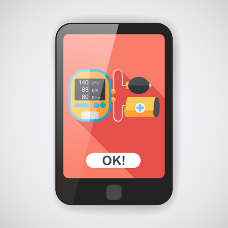 sphygmomanometer: sphygmomanometer blood pressure flat icon with long shadow