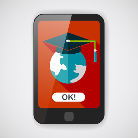 semester: e-learning flat icon with long shadow
