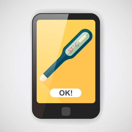 digital thermometer: medical thermometer flat icon with long shadow