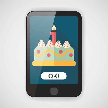 tortas de cumpleaños: icono plana pastel de cumpleaños con larga sombra Vectores