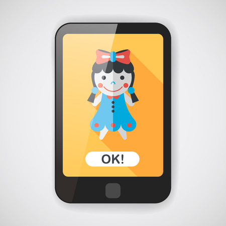 tot: girl doll toy flat icon with long shadow  Illustration