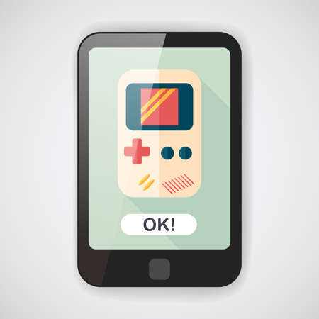 handheld: Handheld game flat icon with long shadow
