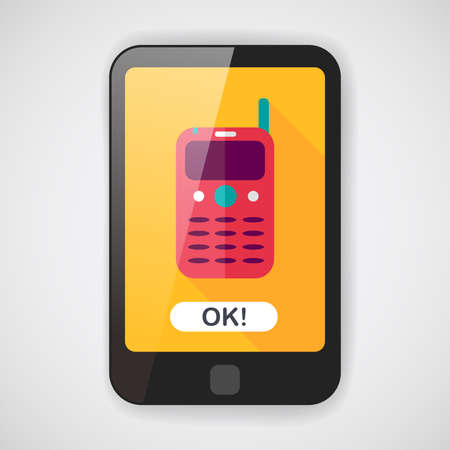 gsm phone: Mobile phone flat icon with long shadow  Illustration