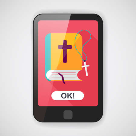 christian halloween: bible flat icon with long shadow  Illustration