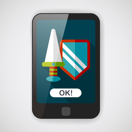 shielding: Sword and Shield flat icon with long shadow