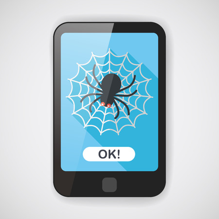 halloween spider: Halloween Spider flat icon with long shadow  Illustration