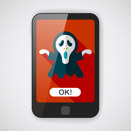 harbinger: Grim Reaper flat icon with long shadow  Illustration