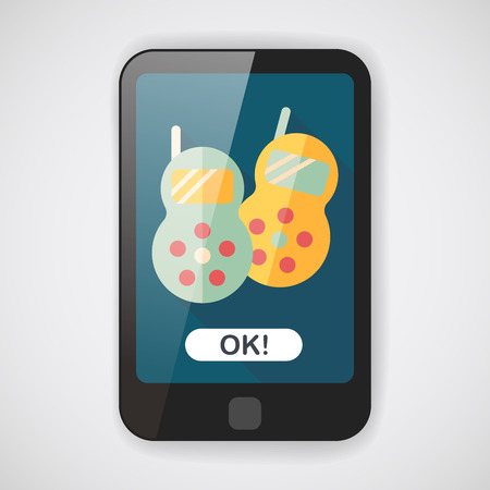 cellular repeater: walkie flat icon with long shadow  Illustration