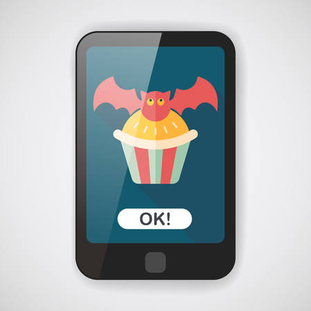 homemaking: Halloween cupcakes with bat flat icon with long shadow  Illustration