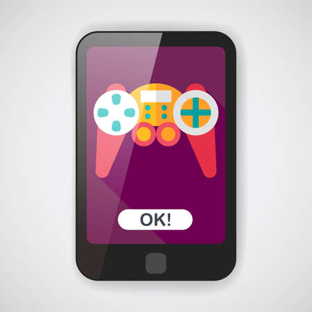 joy pad: Game controller flat icon with long shadow  Illustration